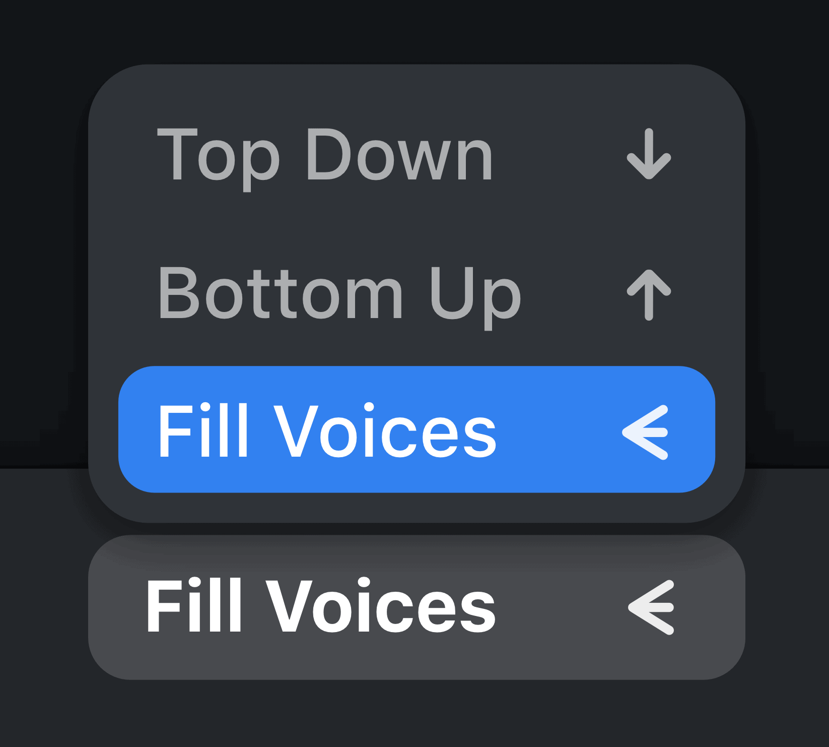 Choose between three different Divisi Modes to split up into the right number of voices