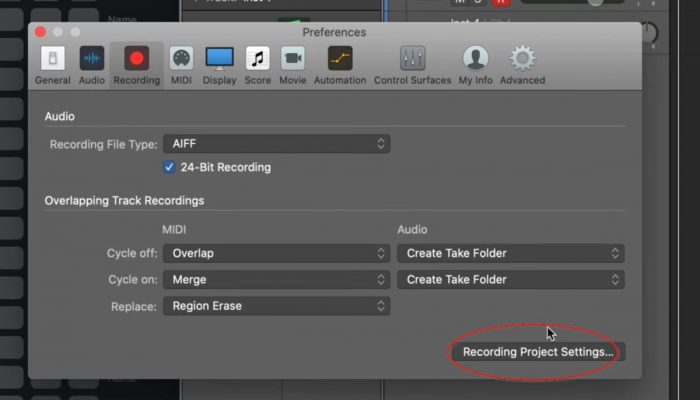 rec project settings